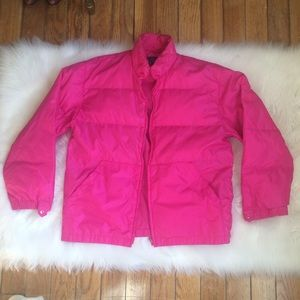 80s 90s Black Ice hot pink puffer down jacket L